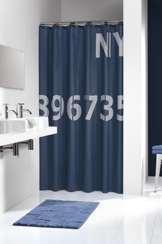 Duschdraperi Digits Blå 180x200 cm