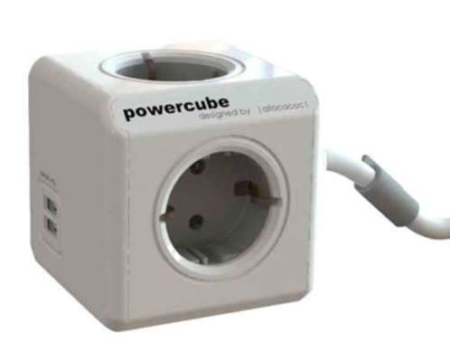 Grenuttag PowerCube Extended 4-vägs + 2 USB