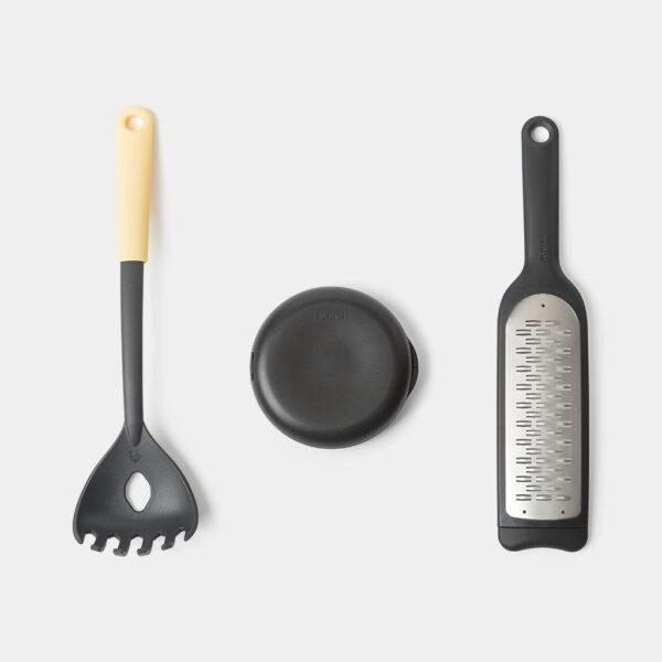 Italienskt Kockset Brabantia TASTY+  Pastaslev  Rivjärn och Pizzaskärare