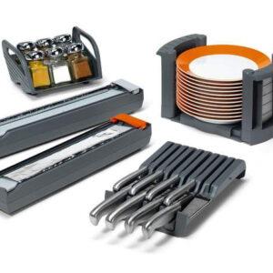 Kökshjälpreda  tallriks- och kryddhållare  knivblock  aluminium- och platsfolieskärare