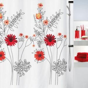 Duschdraperi Textil  Alessia röd 180x200 cm