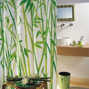 Duschdraperi Textil  Bambus grön 180x200 cm
