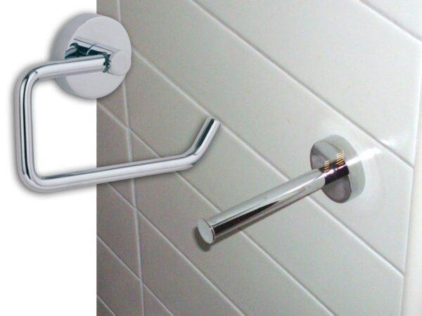 Toalettpappershållare HM235 inklusive Hållare för Extrarulle  Noll Hål i Väggen