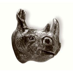 Barnknopp Noshörning  Svart Antik