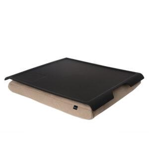 Laptray - multifunktionell bricka med formbar kudde-Sand/Matt svart gummerad Antislip