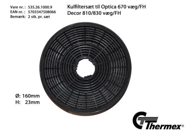 Thermex Kolfilter till Optica 670  Cardiff  Toulouse  Decor 810/830 och Calais 2-pack