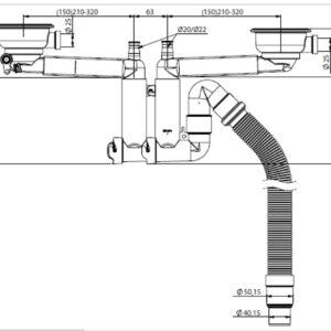 Franke Ventil med Twist control för dubbla diskhoar (xTx)