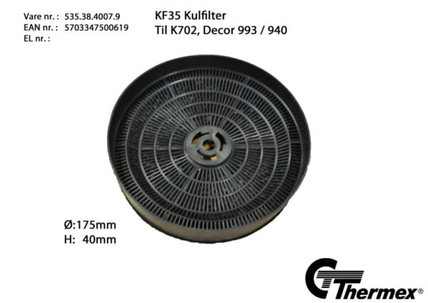 Kolfilter Recirkuleringsfilter till Thermex Fläktar KF35