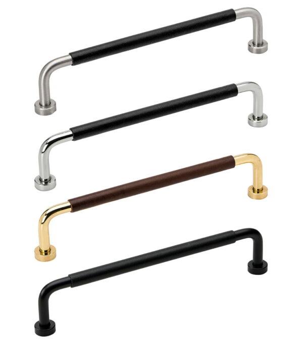 Handtag Beslag Design Lounge Lädersvept-160 Svart/Svart läder