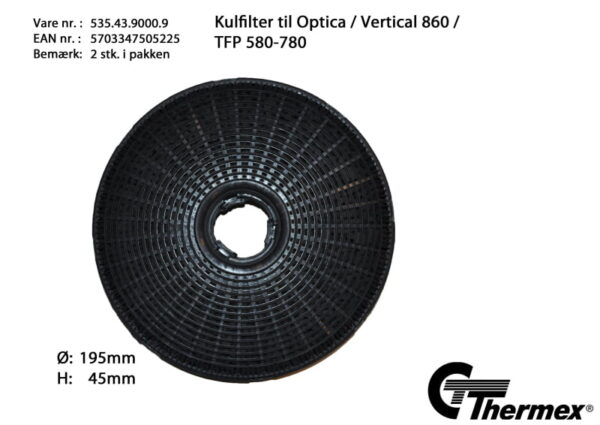 Thermex Kolfilter till Optica/Vertical 860 2-pack