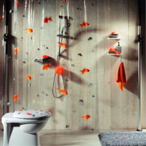 Duschdraperi Spirella Goldfish orange 180x200 cm