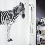 Duschdraperi Spirella Zebra black 180×200 cm
