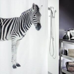 Duschdraperi Spirella Zebra black 180x200 cm 10.20158-LEASP Spirella