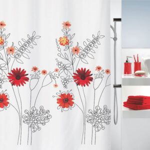 Duschdraperi Spirella Alessia red 180x200 cm