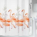 Duschdraperi Spirella Flamingo salmon 180×200 cm