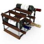 Vinställ Utbyggbart Vinförvaring RTA Traditional 9 Flaskor 3×2 Mörkt trä/ Galvaniserat stål