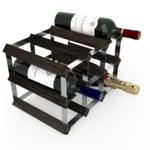 Vinställ Utbyggbart Vinförvaring RTA Traditional 9 Flaskor 3×2 Svart Ask/ Galvaniserat stål