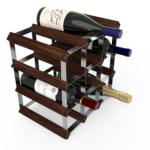 Vinställ Utbyggbart Vinförvaring RTA Traditional 12 Flaskor 3×3 Mörkt trä/ Galvaniserat stål