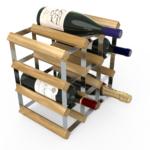 Vinställ Utbyggbart Vinförvaring RTA Traditional 12 Flaskor 3×3 Ljus ek/ Galvaniserat stål